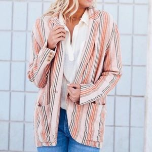 NWT XS Free People Simply Stripe Blazer Strawberry